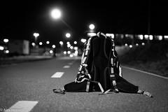 Je dépose mon baluchon (alex.bernard) Tags: blackandwhite bw canada night canon gare noiretblanc québec backpack tamron nuit sacàdos montsainthilaire tamron2470 canon5diii