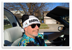 Raider Claus (bogray) Tags: lexington ky convertible christmaseve santahat oaklandraiders elninowinter cutlasssupreme unseasonablywarm 1995oldsmobile raiderclaus