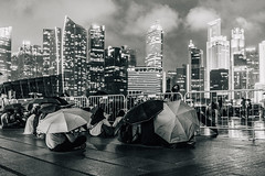DSC04633 Monochrome (drumbunkerdragon) Tags: people white black reflection monochrome rain skyline marina umbrella bay singapore cityscape fireworks sony ii cbd drizzling sg50 rx1r
