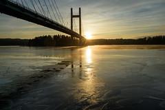 Sunset Bridge (@Tuomo) Tags: winter sunset lake finland landscape nikon df january freezing jyväskylä 2470mm päijänne korpilahti kärkistensalmi