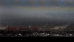 Window. Shards of glass (Lina Molodaya) Tags: travel ukraine railway train window glass shards ends rain waterdrop lines abstract texture art details bokeh shine macro autumn minimalism sky outdoor