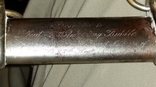 Inscription on U  S  Army Ceremonial Sword - a photo on