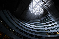 Upward view of inside of Acros Fukuoka () (christinayan01) Tags: architecture building perspective office grees green trees