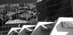 angles and reflections in B&W (Pejasar) Tags: bw angles reflections geometric patterns light building cityplextowers tulsa oklahoma architecture reflectivewindows automabiles