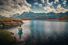 Stay II (Chrisnaton) Tags: switzerland tannensee mountainlake mountains girl onthelake bluesky clouds lakeshore summer hiking
