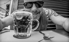 A pint and a fork. (CWhatPhotos) Tags: cwhatphotos fork camera photographs photograph pics pictures pic picture image images foto fotos photography artistic that have which contain with olympus four thirds 43 spanish spain mallorca majorca island october 2016 weather alcudia black white mono monochrome pint lager drink booze pub alcohol beer glass portrait me self selfee sun glasses shades