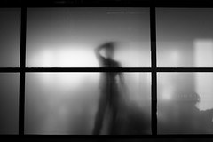 Confused (Elios.k) Tags: horizontal indoors bw blackandwhite monochrome travel travelling airport terminal gate waiting room glass wall silhouette people one person man figure summer vacation august 2016 canon 5dmkii camera photography schiphol amsterdam nederland thenetherlands