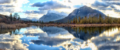 Vermillion Lakes, Banff National Park, Alberta, Canada - p1339 (photos by Bob V) Tags: mountains rockies rockymountains canadianrockies alberta albertacanada banff banffpark banffnationalpark banffalberta banffalbertacanada panorama mountainpanorama vermillionlakes mountrundle reflection reflectiononwater