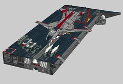 "CSS ""McKinley"", CV(A)N-006 deck section, with P-114C in ""Red Team"" wargame markings (Cagerrin) Tags: lego system technic overbuiltdisplaybase carrier deck ship naval wip ldd 3d legodigitaldesigner"