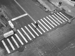 the pianist (vfrgk) Tags: guy walking zebracrossing streetphotography streetscene streetlife streetsnap urbanphotography urbanfragment urbanlife urbanmoment monochrome blackandwhite bw streetview streetlines streetfragment urbanlandscape constructionarea