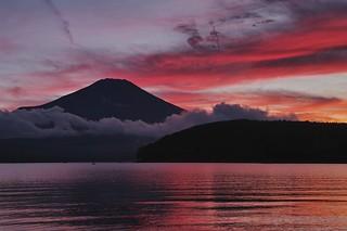 Mt. Fuji with sunset glow at Yamanakako-Lake