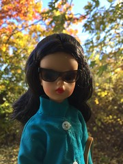 I spy (Foxy Belle) Tags: tammy doll vintage ideal liv wig coat fall autumn outside nature sunglasses