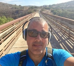Ready to Hike From the Tierrasanta Entrance Bridge to the North and South Fortuna Summits (Blue Rave) Tags: iphonephotography iphoneography sandiego nature trail missiontrailsregionalpark fortunamountaintrail 2016 self myself ego me bloke dude guy male mate people selfie boseheadphones headphones headset path pathway sunglasses california ca