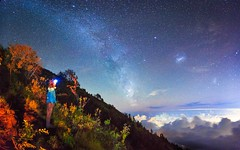 'Look at the stars' (Castelaze_Studio) Tags: agung bali milkyway longexposure indonesia island paradise canon girl headlamp panorama night stars galaxy trek trekking asia asiatrip french mount mont mountain volcano volcan cratere crater