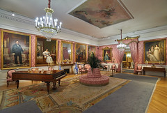 Saln de baile - Museo del Romanticismo (neoBIT) Tags: circulararmchair carpet clock console damask fireplace gold interior lantern mirror musicbox painting piano porcelain silk stalls romantic vase wife madrid spain chueca museodelromanticismo