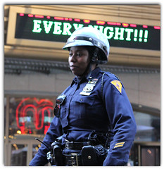 Remembering what she did on her Honeymoon! (The Stig 2009) Tags: thestig2009 thestig stig 2009 2016 tony o tonyo female officer uniform black blue nypd new york police dept department woman mounted division manhattan honeymoon dreams sweet every night daydreamer candid street theatre sign neon ny nyc city