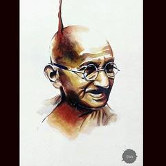 Mahatma Gandhi (Abir Khalil.Art) Tags: india art history watercolor painting artwork colorful artist artgallery aquarelle indian gandhi independenceday legend gandhiji freedomfighter mahatmagandi