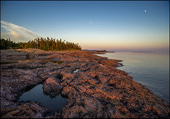 Devils Warehouse Sunset Light (Rodrick Dale) Tags: light sunset sky moon lake ontario canada tree water rock devils superior warehouse