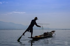Fisherman on Lake Inle (jennifer.stahn) Tags: travel lake work see fisherman nikon asia jennifer burma myanmar inle birma reise stahn d7000