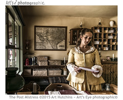The Post Mistress (Art's Eye photographic) Tags: window lamp shop book chair candle basket post mail cabinet desk furniture map naturallight parcels western safe wellsfargo trunks brunette shelves tins broom correspondence cases ledger oillamps strongbox frontiertown westerntheme interiorshoot