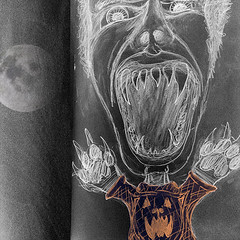 werewolf, day 5 (bindlegrim) Tags: white black halloween collage werewolf illustration digital pencil mouth pumpkin sketch sweater wolf character teeth humor paws oversized chalkboard inverse sarcasm