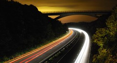 LIGHT TRAIL & POLLUTION (Racheebabeee) Tags: longexposure nightphotography bridge light night trails pollution a27