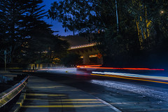 racing with the mac (pbo31) Tags: sanfrancisco california trees motion black color fall silhouette night race speed dark mac nikon october racing goldengatebridge curve presidio roadway goldengatenationalrecreationarea 2015 lightstream boury pbo31 d810 presidioparkway