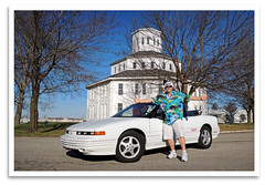 Santa's Sled (bogray) Tags: lexington ky convertible christmaseve santahat oaklandraiders elninowinter cutlasssupreme unseasonablywarm 1995oldsmobile raiderclaus
