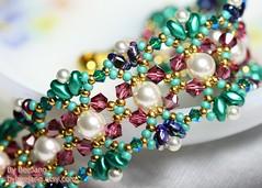 Odelia Bracelet (BeeJang - Piratchada) Tags: blue white green rose handmade jewelry bracelet pearl swarovski emerald beading beadwork beadweaving superduo