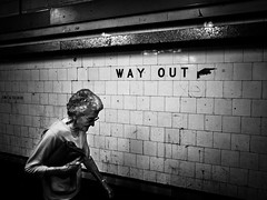 way out (Yiannis Yiasaris) Tags: city people blackandwhite monochrome streetphotography australia melbourne pancake 16mm flindersstation ultrawideangle sonya6000