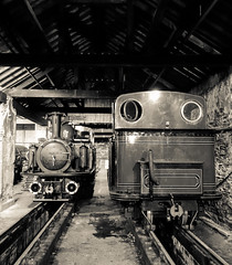 David Lloyd George and Taliesin in the old loco shed at Boston Lodge (chrisjc90) Tags: monochrome blackandwhite train ffestiniog loco shed victorian vintage uksteam