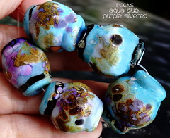 Rocks Aqua Blue Purple Silvered (Laura Blanck Openstudio) Tags: openstudio openstudiobeads set beads jewelry bead handmade lampwork glass murano big rocks pebbles stones nuggets faceted frit whimsical funky odd abstrac organic asymmetric colorful multicolor lilac purple violet grape lavender fine arts art artist artisan made usa italy argenitinian winner published show festival shiny silvered silver leaf aqua blue turquoise ocean water beach navy copper night ocher brown sienna umber