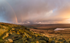 Buckstones Rainbow and sunset (Mark Schofield @ JB Schofield) Tags: pennines pennineway peat nationalpark thenationaltrust marsden huddersfield yorkshire landscape rock buckstones scammonden marchhaigh reservoir sunset rainbow pulehill moors moorland autumncolours