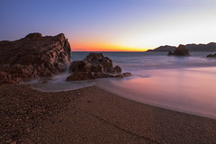 Red Rocks Beach (fredMin) Tags: sunset la bocca france long exposure beach mediterranean fujifilm fuji xt1