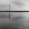 Man and Pole - Shoeburyness (Paul Parkinson LRPS (parkylondon)) Tags: essex shoeburyness longexposure formatthitech bw blackandwhite blackwhite minimalism waterfront sea seafront beach water outdoor monochrome mono lonely solo solitary calm album cover albumcover cd formatt hitech vulturelabs
