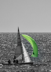 Green-Spinnaker (Willow Images) Tags: green pentaxk3 weekendthebeach boats sailing selectivecolour