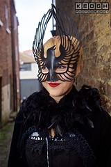 IMG_6518 (Neil Keogh Photography) Tags: 2016 black blouse cloak corset feather goth gothic mask november november2016 red whitbygothweekend white woman
