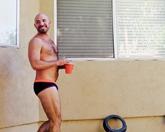 IMG_0210 (danimaniacs) Tags: party shirtless man guy hot sexy hunk mansolo bathingsuit trunks speedo bulge smile beard scruff bald hairy