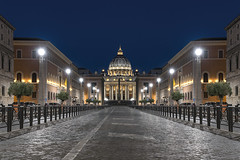 A Night In Rome... (JH Images.co.uk) Tags: rome italy vatican road symmetry symmetric hdr dri night bluehour cathedral dome architecture art street lights roma church religion