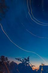 Light Streaks in Night Sky (VBuckley.com) Tags: twilight mckinley mckinleymarina pond downtown milwaukee wisconsin skyline night canon fall leaves urbanpark park blue longexposure lightstreaks