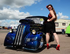 Holly_7364 (Fast an' Bulbous) Tags: ford pop popular fordson van outlawanglia oldtimer fast speed power drag strip race track santa pod pits england dragstalgia people outdoor motorsport pinup girl woman hot sexy hotty dress skirt wiggle long brunette hair seamed stockings highheels stilettos red shoes blue sky summer sunglasses