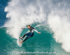 FISTRAL 31st OCTOBER 2016 (Geoff Tydeman) Tags: surfer surfing boardrider ride riding surf wetsuit rubber suit stretch wave water wet moisture sea ocean current spray break breaker board surfboard fin leash atlantic agility fit fitness balance sport watersport extreme turn maneuver maneuvre wax grip stick sticky culture subculture lifestyle artform body stance blue green white coast coastline beach humanbeing shape interact interactive stand standing passion attire power powerful neoprene