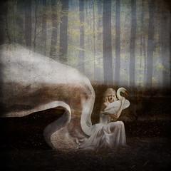 Faithful ('_ellen_') Tags: forest woman dress material white swan faithful love trees nature partner surrender hold