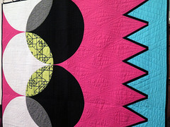 The Cool Kids quilting (Quiltachusetts - Heather Black) Tags: modern contempory quilt shocking hot pink aqua blue gren black white solids curved curves triangle transparency walking foot straight line quilting geometric