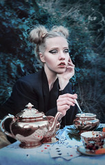 Nobody Came. (Alice Rose Photography) Tags: sleep dreams tea party cups teapot mad hatter alice wonderland nature makeup fashion portrait portraiture model photography photographer nikon nikond90 woman girl hair styling creative fantasy conceptual ivy editorial timwalker tim