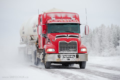 Westcan Bulk Transport Mack Truck (Stephen M. Fochuk) Tags: westcanbulktransport northwestterritories macktruck snow winter transporttruck nwt highway