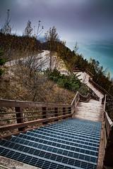 I am inspired . . . (Dr. Farnsworth) Tags: steps stairs lakemichigan m2 scenic fog south arcadia mi michigan inspirationpoint fall november2016