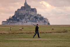 The duck hunter (Howard Ferrier) Tags: france sheep normandy vertebrate mammal religiousbuildings abbey unesco male tidalflat montsaintmichel walking island architecture people plain europe hunter worldheritagesite walk huisnessurmer bassenormandie fr
