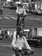 [La Mia Città][Pedala] con il BikeMi (Urca) Tags: milano italia 2016 bicicletta pedalare ciclista ritrattostradale portrait dittico bike bicycle nikondigitale biancoenero blackandwhite bn bw 907153 bikemi bikesharing