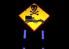 Traffic Warning (cowyeow) Tags: street travel india signs sign yellow danger composition warning asian death skull lights weird funny asia crash accident indian fear creepy odd maharashtra pune crossbones funnysign southasia yellowsign funnyindia